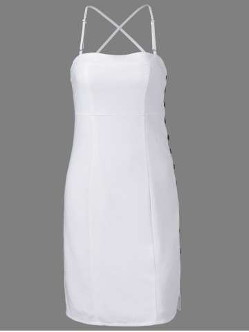 New Fashionable Spaghetti Straps Fastener White Dress For Women - L WHITE Mobile