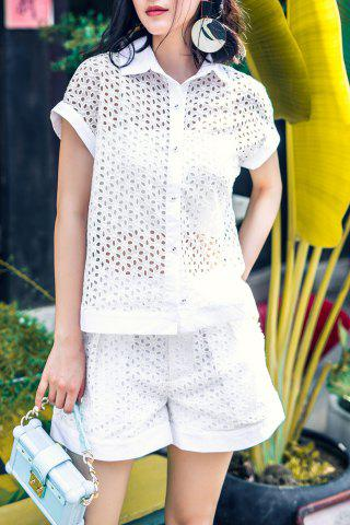 Outfit Button Up Openwork Shirt and Pleated Shorts