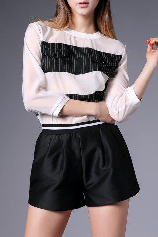 Trendy Stripe Sheer Top with Shorts