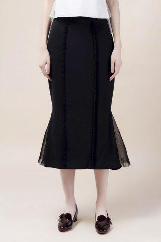 Fancy Tulle Panel Slit Midi Skirt BLACK L