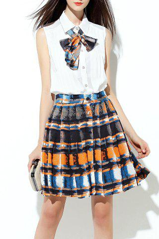 Outfit Mini Pleated Skirt with Bow Tie Blouse
