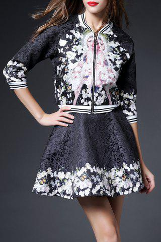 Best Jacquard Flare Skirt with Floral Jacket