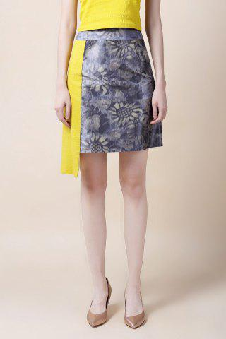 Sale Sunflower Color Block Asymmetrical Skirt