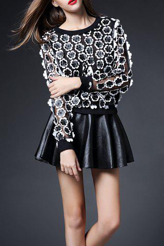 Shops 3D Floral Sheer Top with Mini Skirt