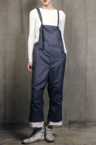 Trendy Rolled Cuff Striped Woolen Overalls