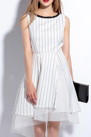Chic Sleeveless Striped Voile Spliced Dress