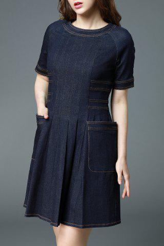 Unique Fitting Dark Blue Denim Dress