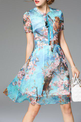Outfit Bowknot Floral Print Dress