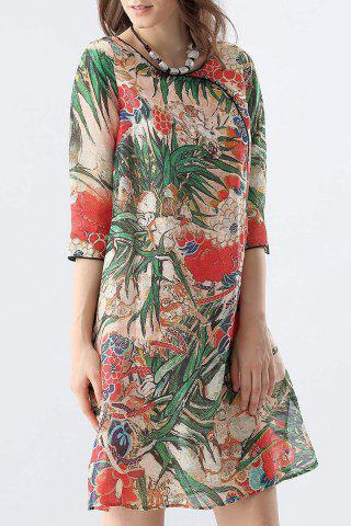 Cheap Side Slit Tropical Print Dress