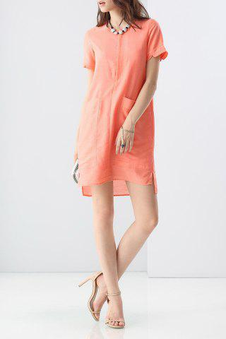 Latest Double Pocket Solid Color Dress