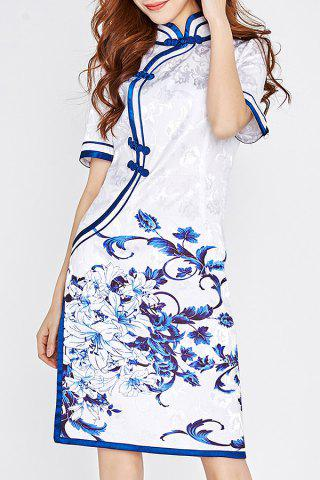 Cheap Ethnic Style Printed Cheongsam Dress