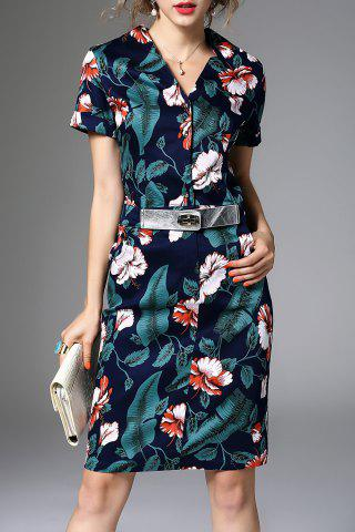 Discount V Neck Belted Floral Print Dress