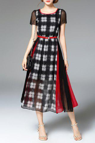 Affordable High Waisted Plaid Print Dress