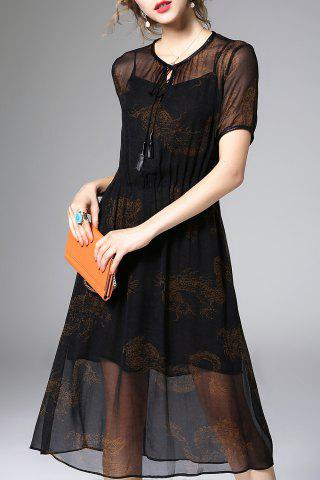 Unique See-Through Printed Dress and Cami Tank Top Twinset