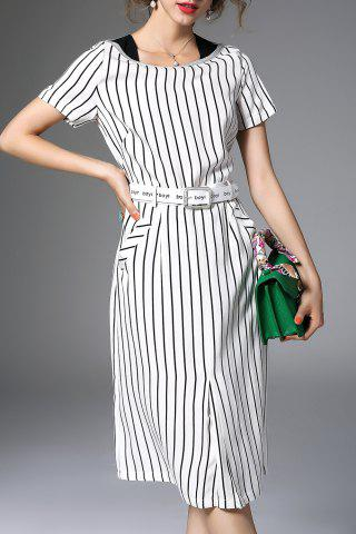 Trendy Waisted Corset Stripe Dress