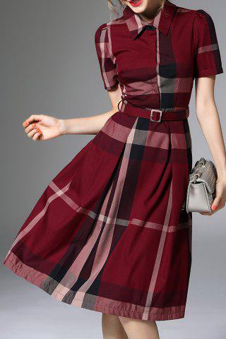 Sale Waisted Corset Checked Dress