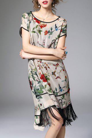 Buy Floral Asymmetric Fringed Dress With Cami Dress