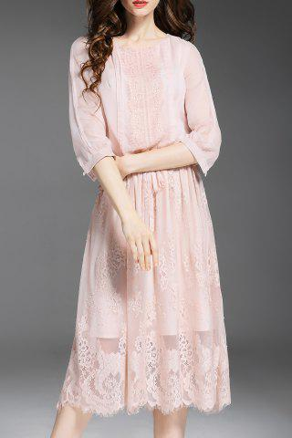 Affordable Drawstring Solid Color Lace Spliced Dress
