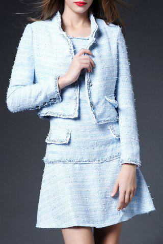 Discount Solid Color Button Embellished Twinset Dress