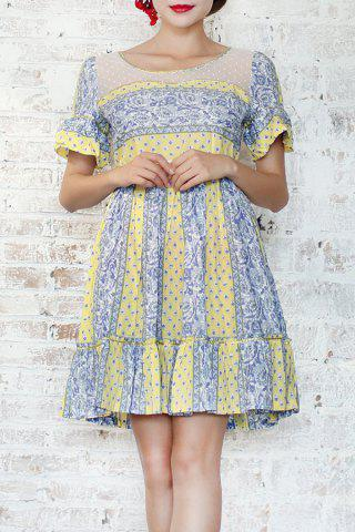 Outfits Lace Spliced Print Ruffle Dress