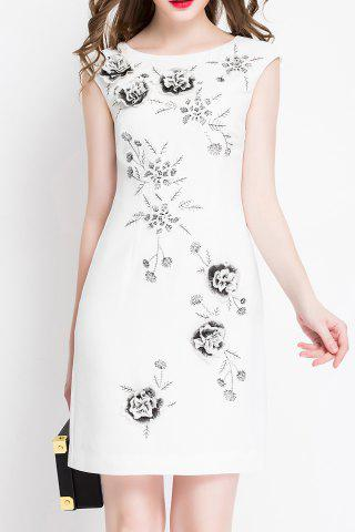 Chic Flower Embroidered Sleeveless Mini Dress