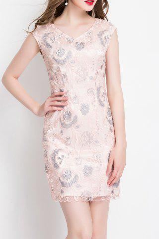 Sale V Neck Floral Embroidered Sleeveless Dress