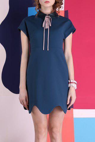 Fashion Leather Collar Scalloped Hem A-Line Dress