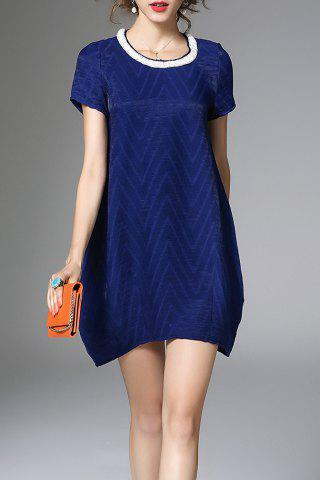 Discount Loose Solid Color Beaded Dress