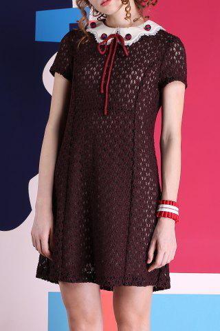 Shop Short Sleeve Contrast Collar Lace Dress