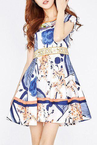 Fashion Embroidery Print Patched Dress