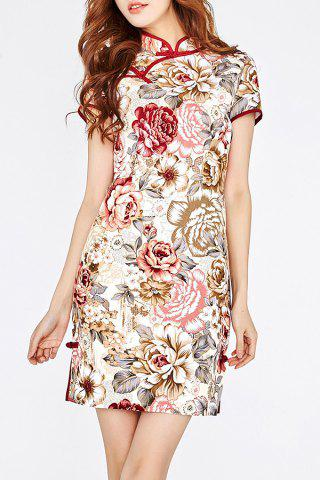 Chic Flower Printed Cheongsam Dress