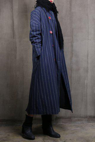 New Striped Double Breasted Parka Coat