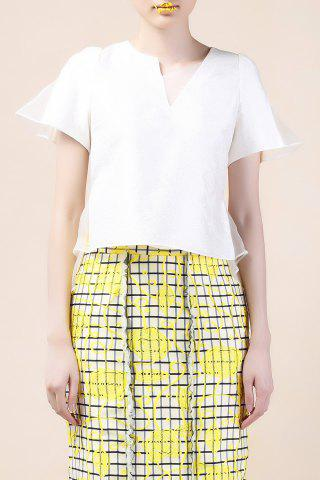 Best Skew Collar Off-White Asymmetric Blouse
