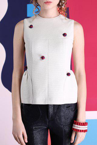 Cheap Embellished Spliced Tank Top