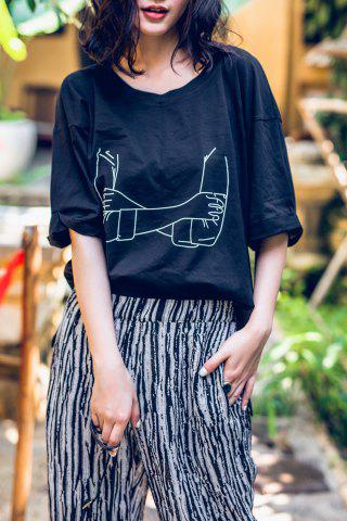 Chic Cuffed Cotton Arm Graphic Tee