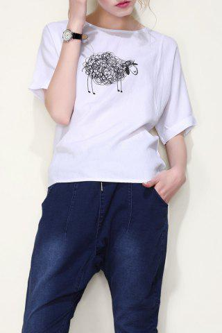 Fashion Sheep Graphic Tee with Back Zip