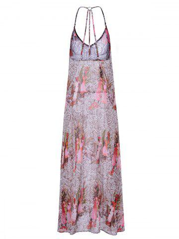 Discount Backless Boho Print Long Swing Slip Dress - M COLORMIX Mobile