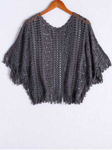 Chic Stylish Round Neck Batwing Sleeves Crochet Top For Women