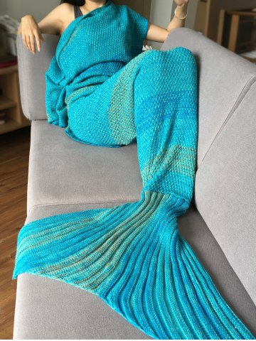 Affordable Crochet Stripe Pattern Mermaid Tail Shape Blanket