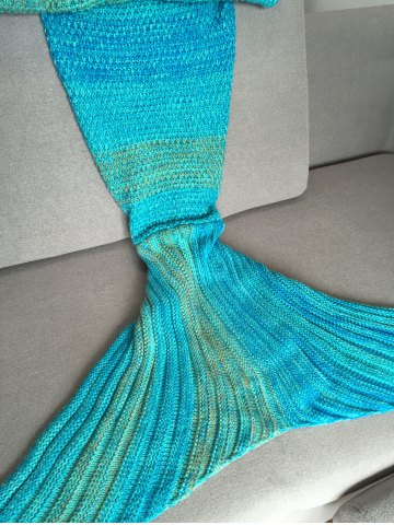 Lake Blue Crochet Stripe Pattern Mermaid Tail Shape