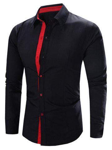 Store Refreshing Color Block Turn-Down Collar Long Sleeve Shirt For Men - BLACK AND PINK L Mobile