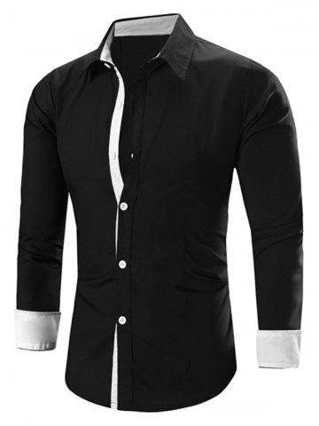 Unique Refreshing Color Block Turn-Down Collar Long Sleeve Shirt For Men