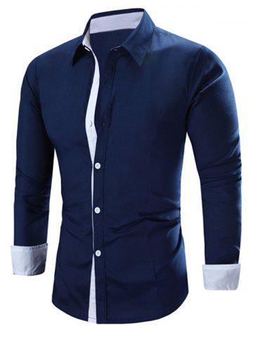 Unique Refreshing Color Block Turn-Down Collar Long Sleeve Shirt For Men - XL CADETBLUE Mobile