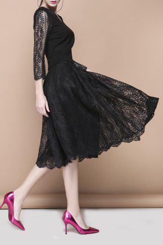 Outfits V Neck Top and Midi Lace Skirt