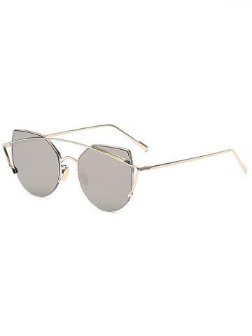 Chic Gold Crossbar Cat Eye Mirrored Sunglasses For Women - Silver