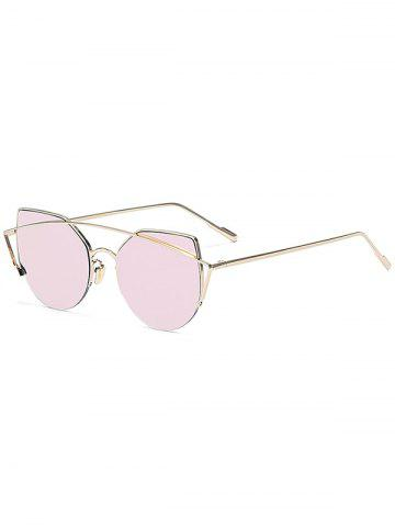 Buy Chic Gold Crossbar Cat Eye Mirrored Sunglasses For Women PINK