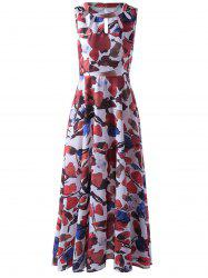 Fashionable Sleeveless Abstract Printed Cut Out Pleated Maxi Dress For Women