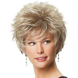 Graceful Off-White Mixed Synthetic Fluffy Short Layered Cut Straight Capless Wig For Women -