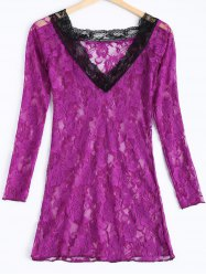 Sexy Lace Plunging Neck Long Sleeve Spliced Women's Babydoll - VIOLET