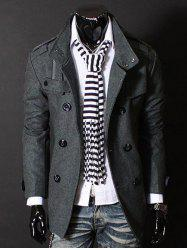 Fashion Stand Collar Double Breasted Long Sleeves Woolen Windbreaker For Men - GRAY